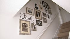 Wall stair gallery - love the monogram and star. I have stars I could do this with :)stair gallery - love the monogram and star. I have stars I could do this with :) Stairway Pictures, Wall Pictures, Picture Wall, Photo Wall, Picture Frames On The Wall Stairs, Stairway Walls, Staircase Frames, Basement Stairway, Photowall Ideas