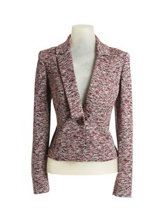 Maroon and Heather Grey Space Dye Knit Jacket. Price: $358. Will you covet this knit jacket because it's as comfy as a cardigan? Yes, you will. But there's so much more. You'll love the space dye pattern. It's such a modern take on tweed. And then there's the cropped length, slim fit and dinner jacket styling. So much fun.