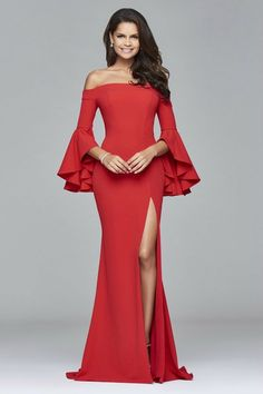 Dare to bare in ✨ showing off this gorgeous off-the-shoulder neckline before the fall temps roll in! shop this look ➡ Faviana - Long off-the-shoulder crepe dress Beautiful Evening Gowns, Long Evening Gowns, Evening Dress Patterns, Formal Cocktail Dress, Fit And Flare Skirt, Chiffon, Dress Images, Crepe Dress, Homecoming Dresses