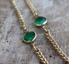 Vintage Green Bezel Stones Set in Gold by Gener8tionsCre8tions, $35.00