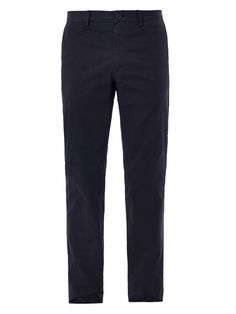 $137, Navy Chinos: Lanvin Straight Leg Chinos. Sold by MATCHESFASHION.COM. Click for more info: https://lookastic.com/men/shop_items/106328/redirect