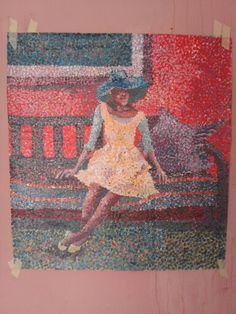 "interior with African model""Soweto impressionist artist mandla mogale, acrylics on canvas"