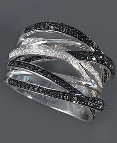 Caviar by Effy Collection 14k White Gold Ring, Black and White Diamond Ring