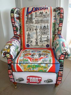 London chair - From vintage tea towels Funky Furniture, Painted Furniture, Furniture Design, Patchwork Chair, Take A Seat, Cool Chairs, Wingback Chair, Chair Upholstery, Tea Towels