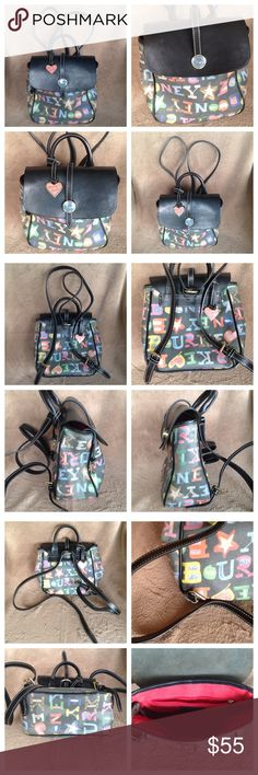 """Dooney & Bourke Black Backpack Bag Dooney & Bourke. Multicolor Backpack. Numbered. Inside slot pocket and zip pocket.  Adjustable straps with handle as well. 8x9x4.  Adjustable straps are 28"""". This shows some wear- not noticeable, I put plenty of pictures up. I think it just needs a good shining up! Open to offers! Dooney & Bourke Bags Backpacks"""