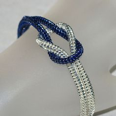 Midnight ... Bracelet . Knotted . Silver Lined Beads . Navy Blue . Sparkly . Metallic . Knot Ready for Prime Time . Magnetic Closure
