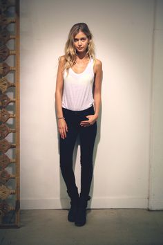 white and black skinny look