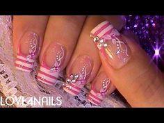Uñas Decoradas Con Cristales Color de Rosa - YouTube