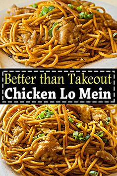 Chicken lo mein is way better than takeout. Chicken lo mein is way better than takeout. This easy Chicken Lo Mein recipe is a perfect homemade takeout with savory chicken noddles and crisp veggies. Homemade Chinese Food, Easy Chinese Recipes, Asian Recipes, Healthy Recipes, Chinese Noodle Recipes, Chinese Desserts, Breakfast Recipes, Dinner Recipes, Dinner Ideas