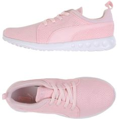 Puma Low-tops & Trainers ($56) ❤ liked on Polyvore featuring shoes, sneakers, pink, puma footwear, low profile sneakers, round cap, pink flat shoes and low top