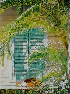 """conch shell window (1)30"""" x 22""""   bda    micheal zarowsky / watercolour on arches paper / (private collection)"""