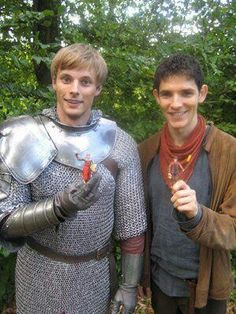 Bradley and Colin with Aurthur and Merlin figurines, so cute!