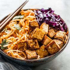 Easy Coconut Curry Stir Fry Noodles with Glazed Tofu