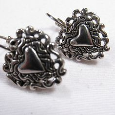 Vintage 1970's silver toned blackend metal heart by jewelry715, $10.00