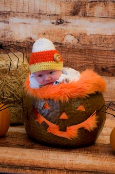 Newborn Baby Crocheted Candy Corn Hat Beanie by propsstop on Etsy, $17.50