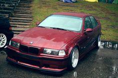 Calypsorot BMW e36 sedan on cult classic BBS RF wheels