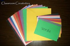 """Classroom Creativities: """"Musical Chairs"""" Spanish Vocabulary Game  Review colors or any basic vocabulary.  Great for elementary students."""