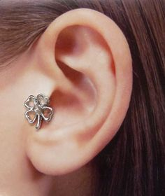 Silver four leaf clover charm Ear Cuff, Nose cuff, Tragus cuff, charm ear cuff,  Non Pierced Nose Ring, Cartilage, Fake piercing