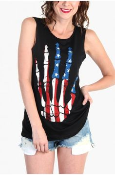 LoveMelrose.com From Harry & Molly | SKULL HAND AMERICAN FLAG TANK TOP - Black