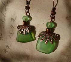 Vintage looking green sea glass seaglass & by KimsKreationsNC, $15.00