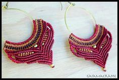 Red Gypsy Hoop macrame earrings beautiful tribal by GaiaMacrame
