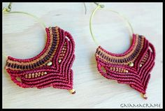 Red Gypsy Hoop macrame earrings beautiful tribal by GaiaMacrame