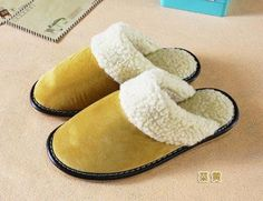 Real Genuine Leather Women Men Home Slippers Warm Winter Indoor Shoes For Couples Bedroom House Plush Comfortable Guests Flats