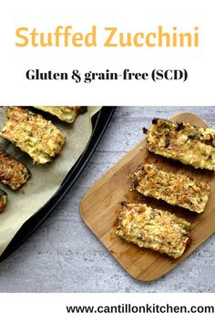 Stuffed Zucchini - Appetizer or Main dish, these will blow your guests away. Gluten, grain-free and Specific Carbohydrate Diet (SCD) - friendly. Specific Carbohydrate Diet, Appetizers For Party, Almond Flour, Tray Bakes, Grain Free, Banana Bread, Zucchini, Main Dishes, Grains