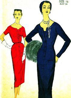 1950s Dress Pattern Advance 6979 Fitted Sheath Dress Wide Neckline Wiggle Dress Womens Vintage Sewing Pattern Bust 34