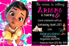Colorful Moana Birthday Party Invitation by ShayLanaeDesigns on Etsy
