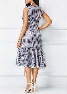 9527c734aa067 Sleeveless Round Neck Printed Peplum Hem Dress on sale only US 33.95 now,  buy cheap Sleeveless Round Neck Printed Peplum Hem Dress at liligal.com