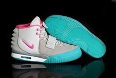 2014 New Shopping Online Nike Air Yeezy 2 Womens Shoes Grey White Green b6fbaa1f2d