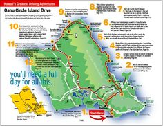 Hawaii Maps Oahu Island Map This highly detailed rental car road