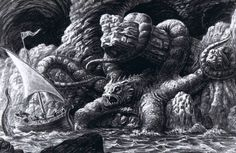 """brudesworld:  """"Release the Kraken!"""" Ray Harryhausen pre-production sketch for 1981's Clash of the Titans. Double-click pic for hi-res."""