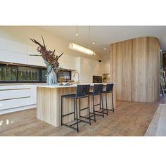 Luke & Jasmin's Kitchen Kitchen Island Bench, Kitchen Benches, Timber Walls, Timber Flooring, Integrated Fridge, Pale White, Pantry Essentials, White Doors, Beautiful Kitchens