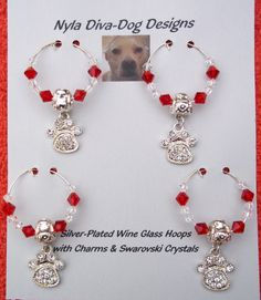 Paw Print Wine Glass Hoops Charms  Wine by NylaDivaDogDesigns, $32.00
