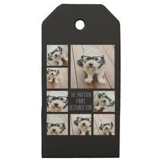 Create a Custom Photo Collage with 8 Photos Wooden Gift Tags - stylish gifts unique cool diy customize