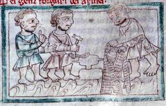 English manuscript, dated 1250, showing armor makers holding tools and a hauberk, from, St. Albans, England, holding Institution Cambridge University Library.