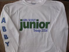 Personalized GIRL SCOUT JUNIOR Long Sleeve by thewhimsydaisy, $13.00