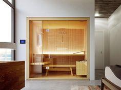 Finnish sauna ROPE By Glass1989 design Meneghello Paolelli Associati Sauna Design, Finnish Sauna, Chromotherapy, Infrared Sauna, Massage Room, Home Spa, Bookshelves, Minimalism, Architecture