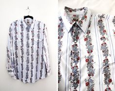 Vintage Rose Print Western Cowboy Shirt at CutandChicVintage on Etsy