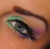 Mardi Gras Really Simple  green,yellow,purple eyeshadow and eyeliner
