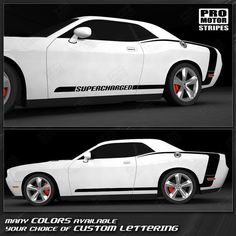 for Dodge Challenger SRT8 2008 2x Lowered car outline stickers muscle car
