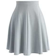 Chicwish Closet Essential A-line Skirt in Grey ($42) ❤ liked on Polyvore featuring skirts, grey, knee length a line skirt, summer skirts, gray a line skirt, a line skirt and grey skirt
