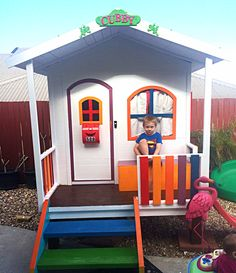 Hide and Seek Cubbies  Cubby House Timber  Kids cubbIes Playhouse  Wooden Can Freight Australia Wide. This brightly coloured Billie Cubby was lifted by a customer in Cairns