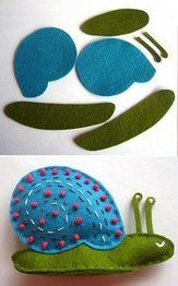 Felt Snail @Martha Castro: This is the only information on this craft. I couldn't find a pattern or instructions. If anyone knows of the pattern or where to find it, please let me know. Thanks.  (VERY CUTE!!!)