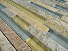 Golden Quartzite Stone & Glass Interlocking Blend.