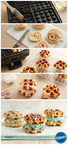 Cinnamon Roll Waffle Ice Cream Sandwiches!