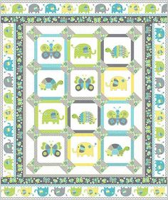"Baby's Scrapbook Quilt Kit: Elephants, turtles, bees and butterflies are the focus of this adorable 60"" x 72"" quilt, and the printed animal panels make this quilt a breeze to make! This kit includes the Baby's Scrapbook pattern from Northcott, as well as fabrics for the top and binding for the quilt shown."