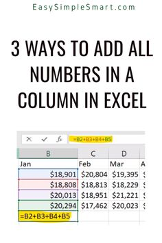 Use function to add up a column or row of cells in In this tutorial you will learn three ways to add all the numbers in a column or on a row in Excel. The methods described are: simple addition SUM() function the AUTOSUM button Computer Basics, Computer Help, Computer Programming, Typing Hacks, Typing Skills, Excel Macros, Excel For Beginners, Research Skills, Microsoft Excel
